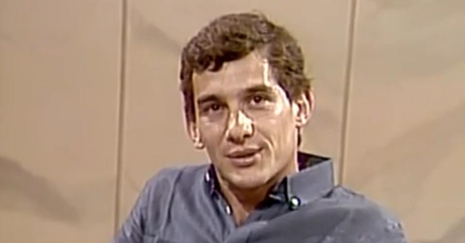 Ayrton Senna participa do Roda Viva, da TV Cultura, em dezembro de 1986