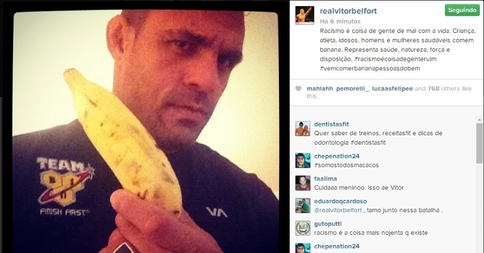 O lutador de MMA Vitor Belfort também participou da campanha contra o racismo