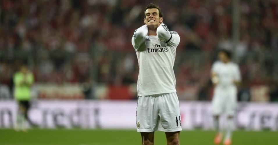 Gareth Bale lamenta chance perdida para o Real na partida contra o Bayern (29.abr.2014)
