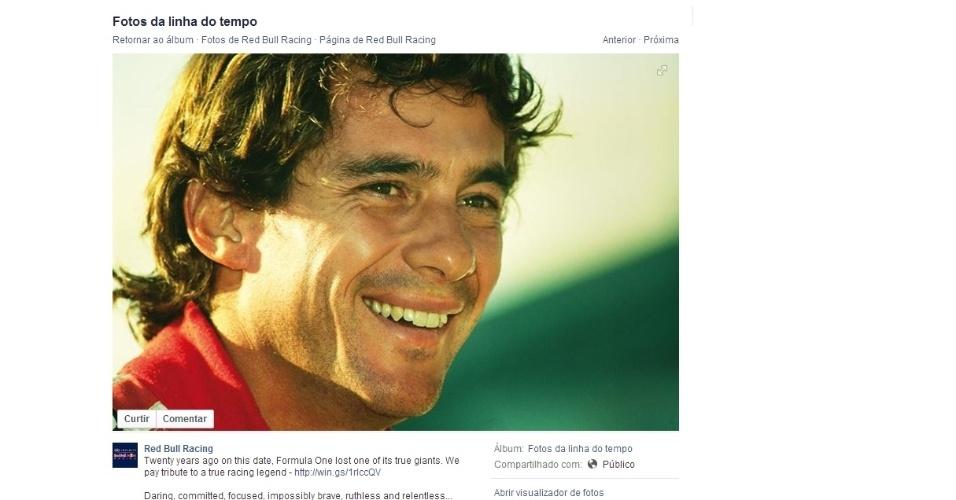 A Red Bull também fez uma homenagem a Ayrton Senna no Facebook