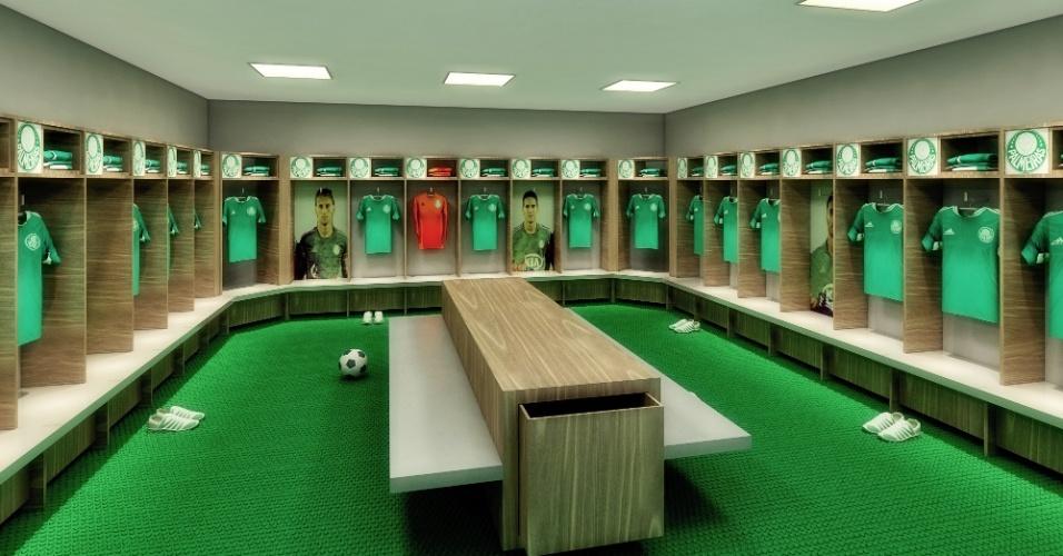 Vestiário do Palmeiras terá cabines personalizadas para os atletas