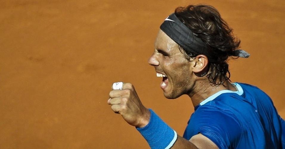 10.mai.2014 - Rafael Nadal comemora após vencer o seu compatriota Roberto Bautista-Agut na semifinal do Masters 1000 de Madri