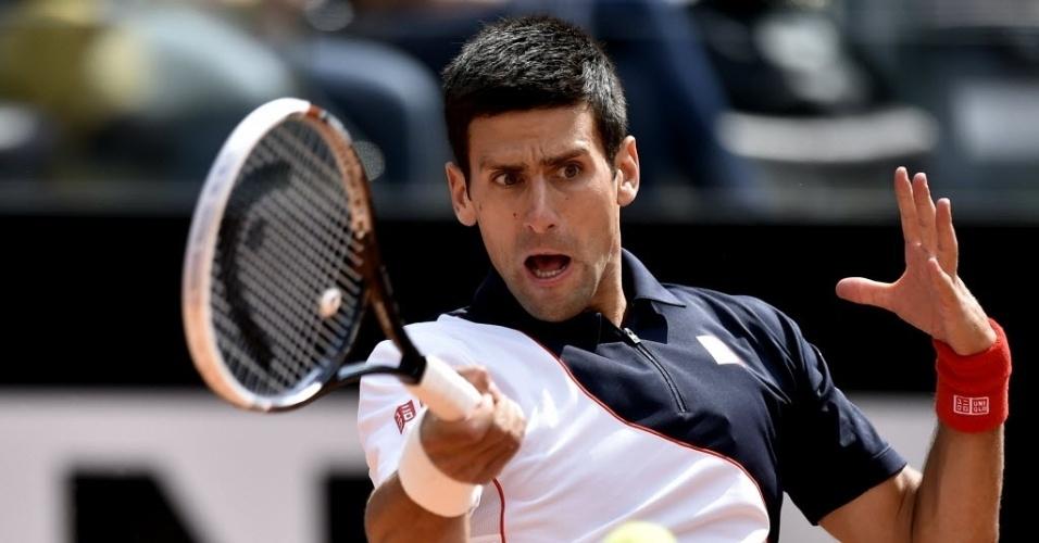 13.mai.2014 - No retorno de lesão, Djokovic fez sua estreia no Masters 1000 de Roma contra o tcheco Radek Stepanek