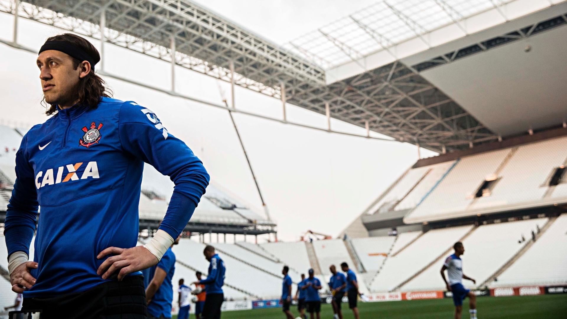 Cássio também participou das atividades da equipe no novo estádio