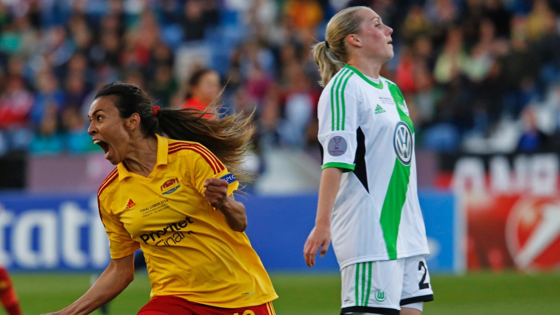 22.05.14 - Marta comemora um de seus gols na final da Liga dos Campeões feminina entre seu time, o Tyreso, contra o Wolfsburg