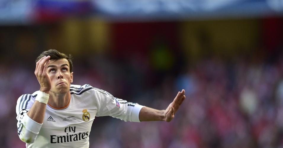 24.mai.2014 - Bale faz toque de cabeça durante final entre Real Madrid e Atlético de Madri
