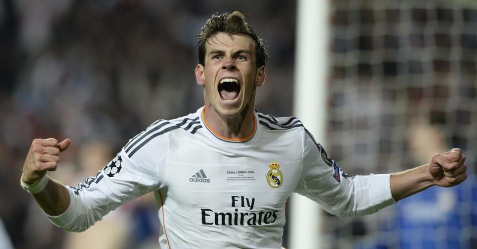 24.mai.2014 - Gareth Bale comemora virada do Real Madrid sobre o Atlético de Madri na final da Liga dos Campeões