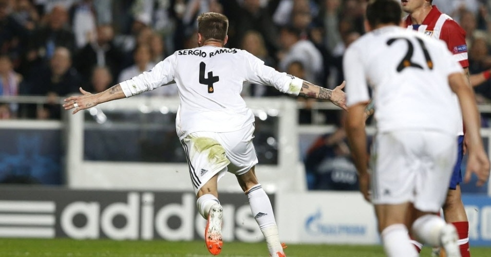 24.mai.2014 - Sérgio Ramos comemora gol no último minuto do tempo regulamentar da final