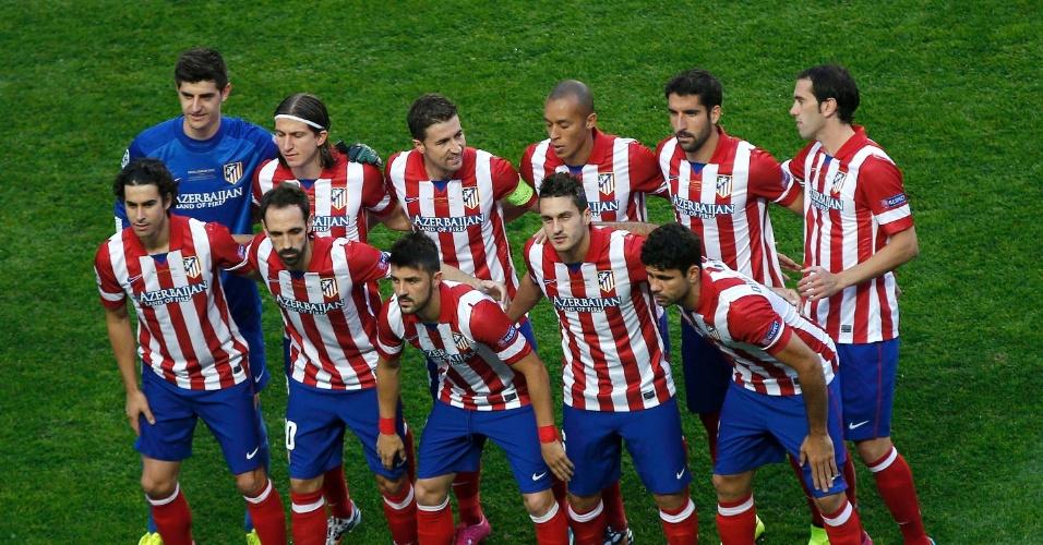 24.mai.2014 - Time do Atlético de Madri posado antes da final da Liga dos Campeões contra o Real Madrid