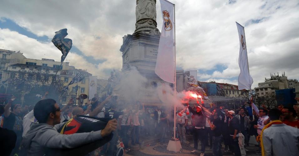 Torcedores vindos da Espanha invadem a cidade de Lisboa, palco da final da Liga dos Campeões entre Real Madrid e Atlético de Madri, às 15h45
