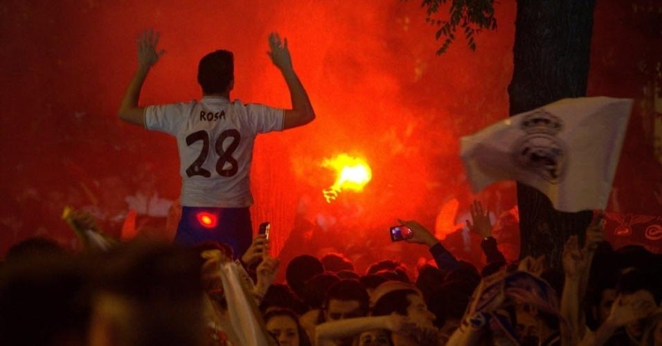 25.mai.2014 - Um dia depois da conquista, a festa ainda acontecia na capital espanhola