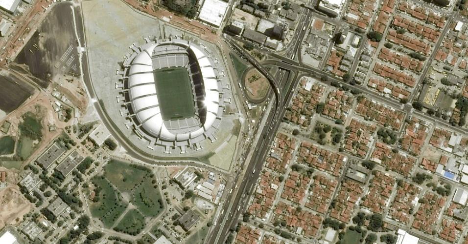 Imagem da Arena das Dunas vista do espaço, captada por satelíte