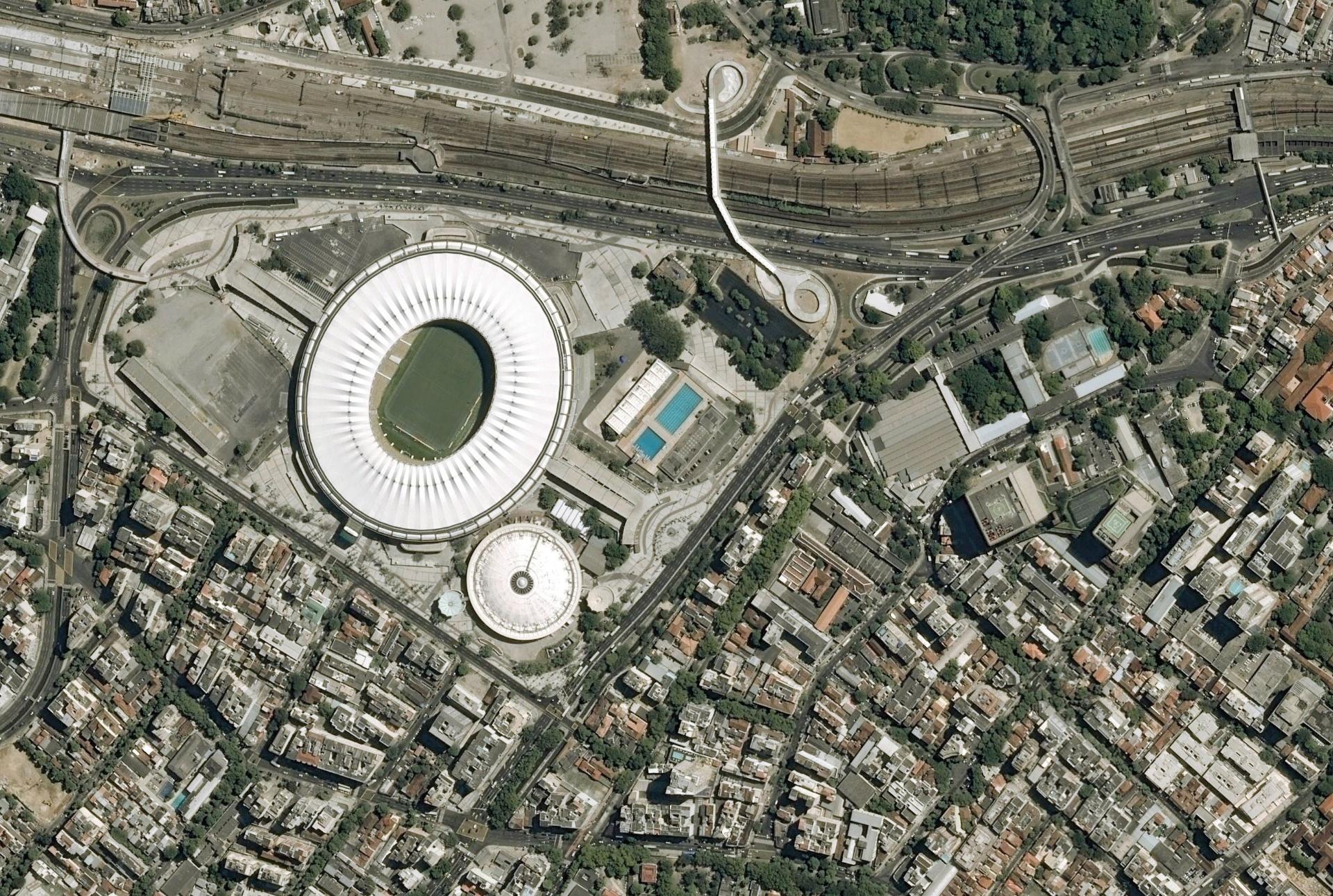 Imagem do estádio do Maracanã, vista do espaço e captada por satélite