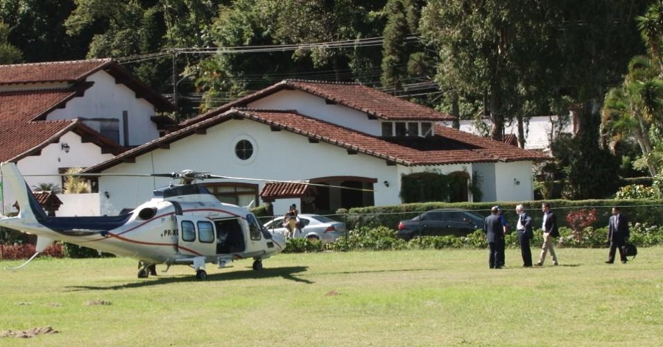 Helicóptero levou o presidente da CBF, José Maria Marin, até a Granja Comary, na manhã desta sexta-feira