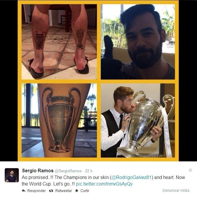 31. mai. 2014 - Sergio Ramos tatua taça da Liga dos Campeões na perna esquerda