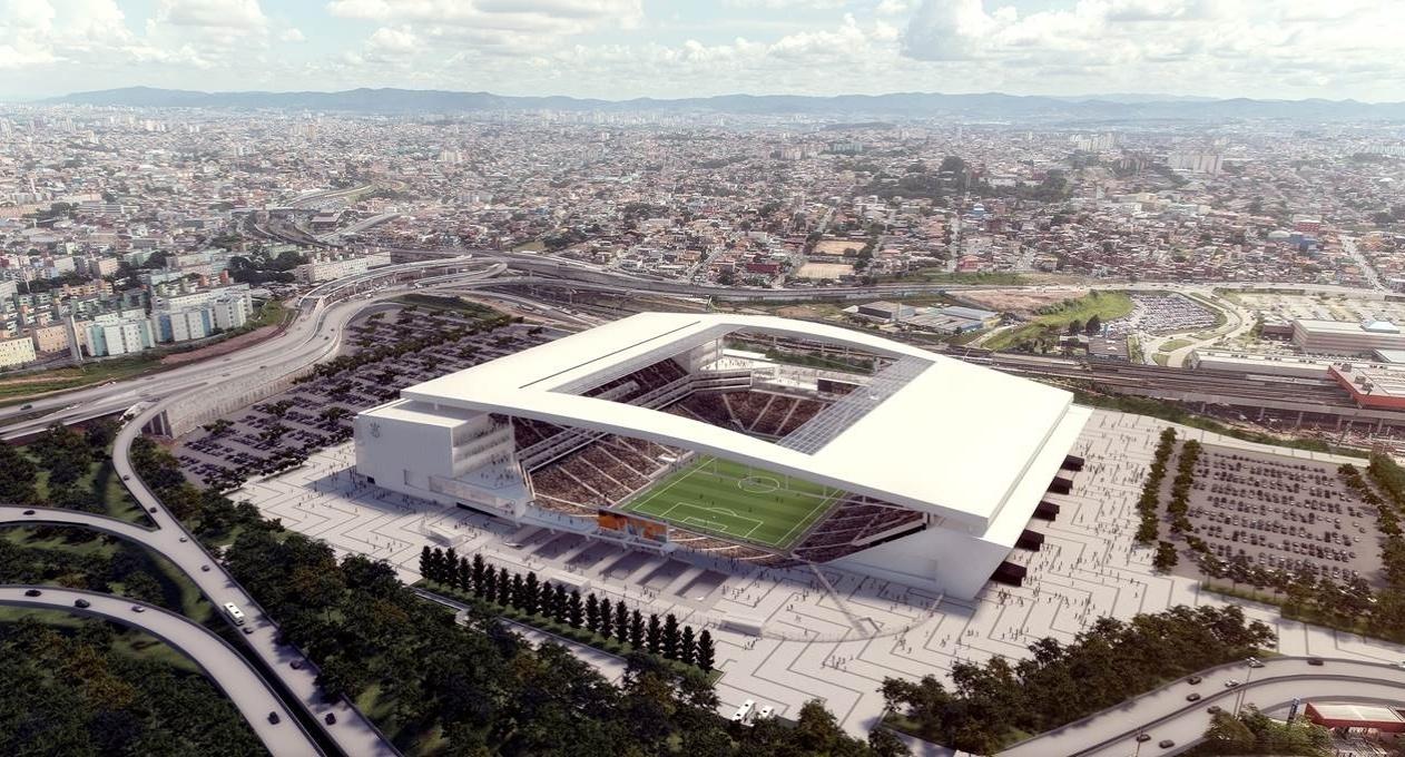 Projeto pós-Copa para o Itaquerão mostra um estádio bem mais limpo, com estacionamento, entrada VIP, painéis, árvores e iluminações inexistentes atualmente
