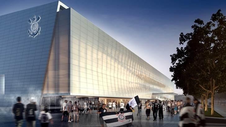 vProjeto pós-Copa para o Itaquerão mostra um estádio bem mais limpo, com estacionamento, entrada VIP, painéis, árvores e iluminações inexistentes atualmente