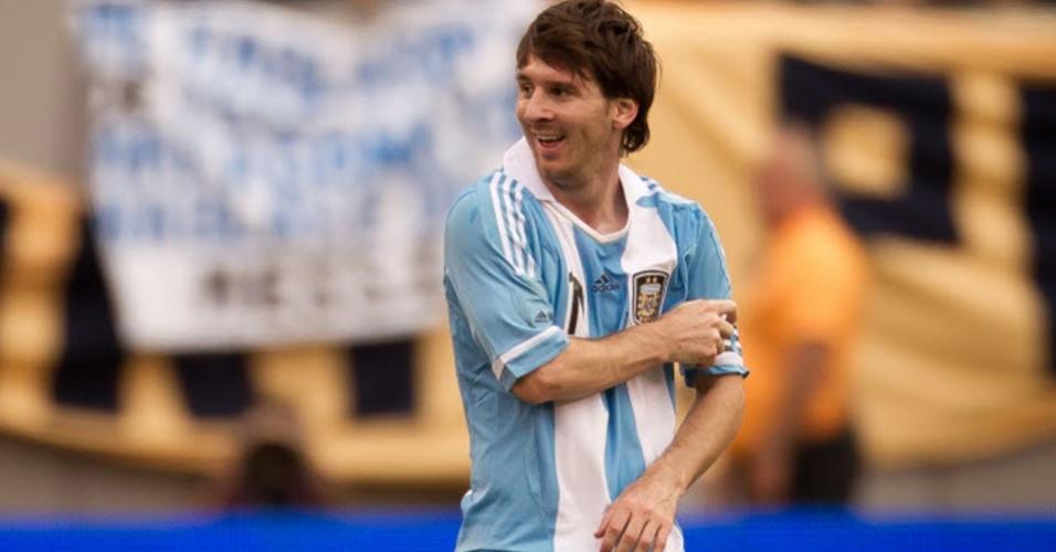 Messi comemora um de seus gols na vitória sobre o Brasil, em amistoso disputado nos EUA em 2012