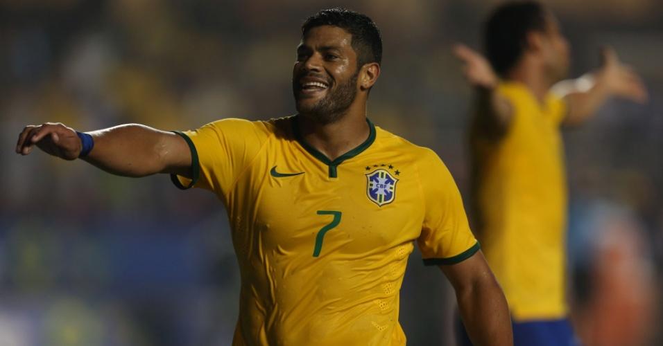 Hulk reage após ter gol anulado em partida amistosa entre Brasil e Sérvia, no Morumbi