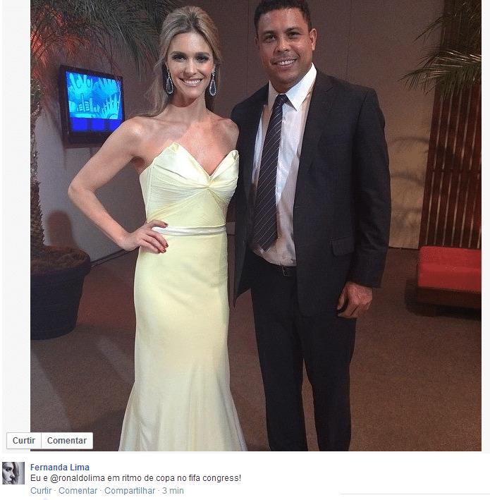 Fernanda Lima postou foto com Ronaldo no Congresso da Fifa em São Paulo