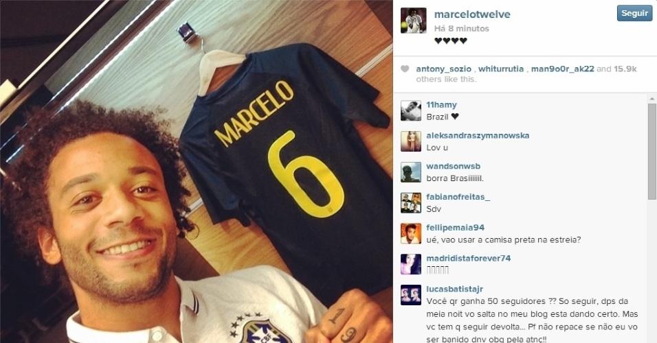 11.jun.2014 - Marcelo posta foto no vestiário do Itaquerão antes de treino