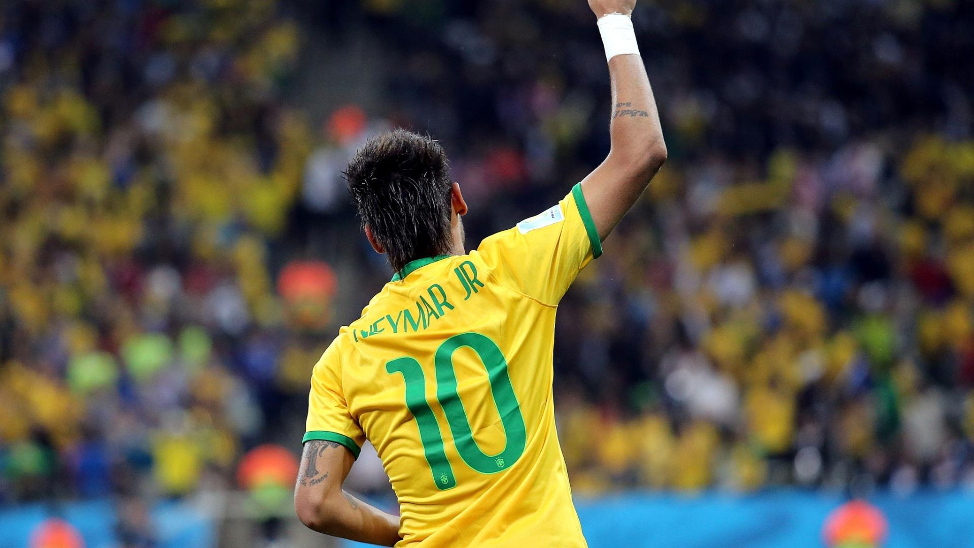 12.jun.2014 - Autor de dois gols, Neymar foi um dos destaques da seleção brasileira na vitória sobre a Croácia, de virada, por 3 a 1, na abertura da Copa do Mundo