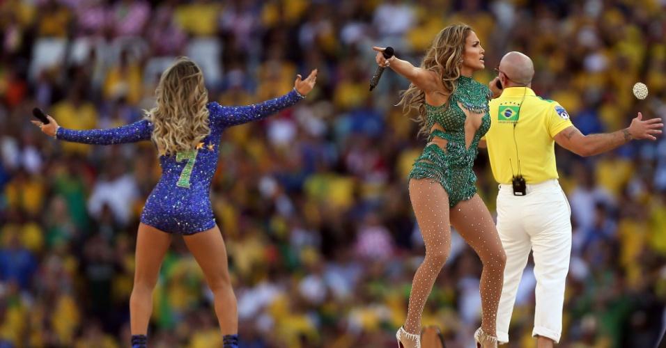 Jennifer Lopez, Pitbull e Claudia Leitte cantam na cerimônia de abertura da Copa