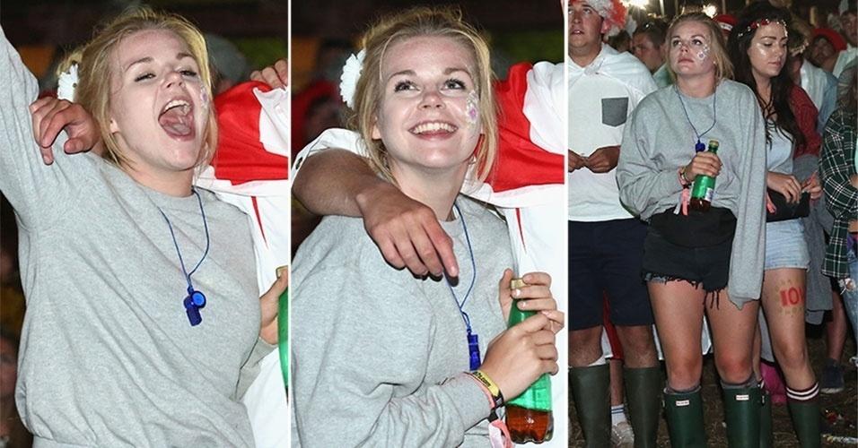 14.jun.2014 - Torcedora da Inglaterra acompanha a Copa em Newport (Reino Unido), festeja e sofre com seu time, na derrota contra a Itália