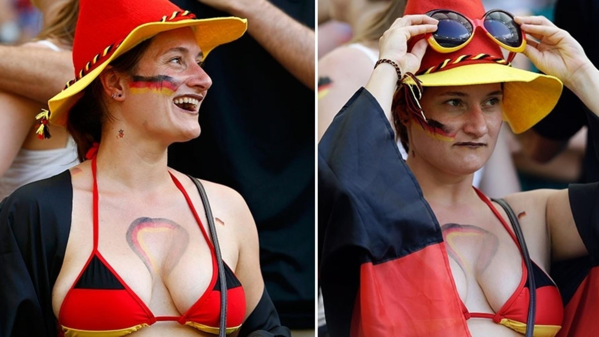 16.jun.2014 - Torcedora ousada vai de biquíni ao estádio e pinta o corpo para apoiar a Alemanha