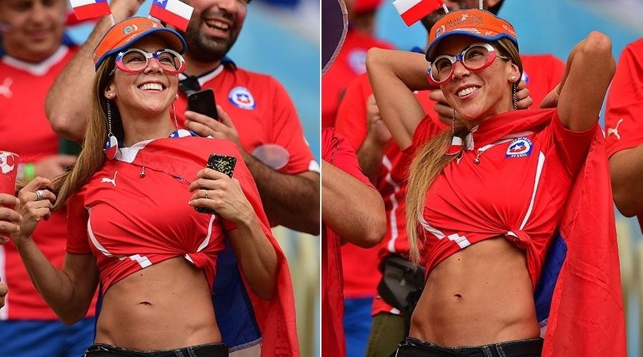 Torcedora do Chile caprichou nos abdominais e mostrou a barriguinha sarada na arquibancada do Maracanã