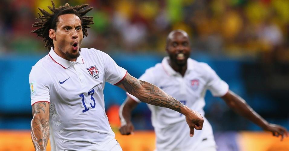 Jermaine Jones vibra ao marcar o gol de empate dos Estados Unidos contra Portugal