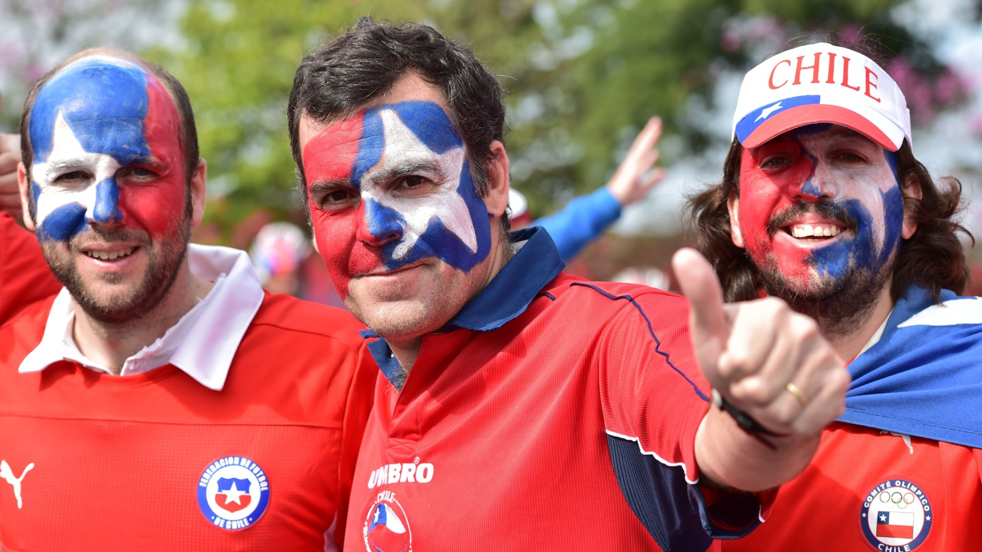 Chilenos chegam ao Itaquerão para a partida contra a Holanda