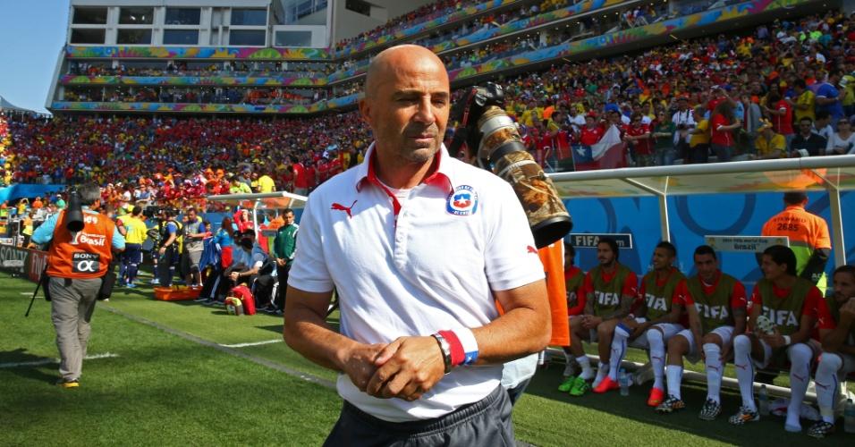 Jorge Sampaoli, técnico do Chile, durante partida contra a Holanda