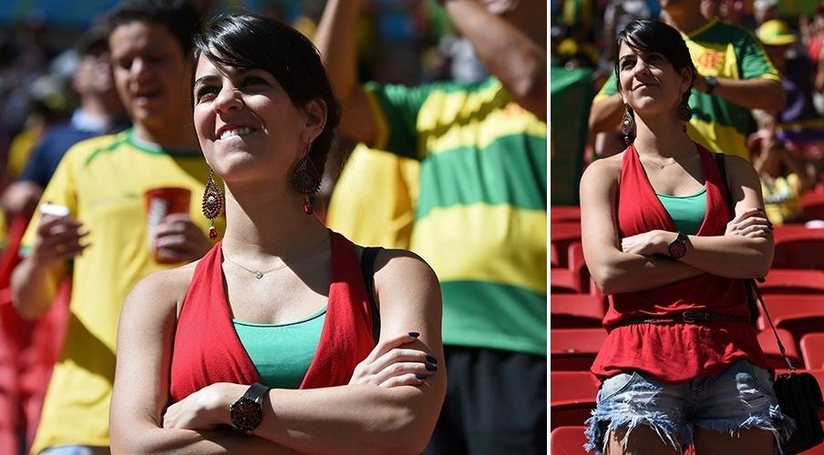 Bela torcedora apoia Portugal no jogo contra Gana em Brasília