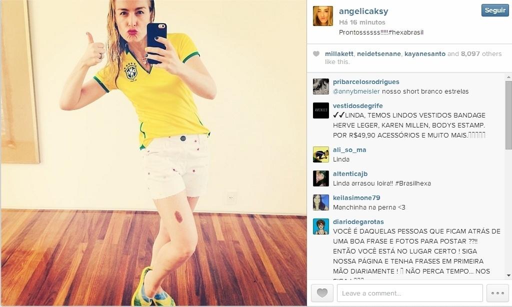 Angélica posta foto no Instagram apoiando a seleção brasileira contra o Chile