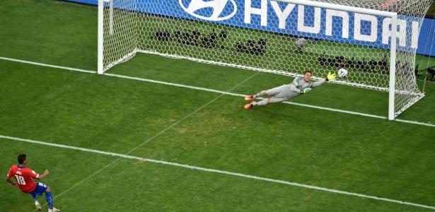 Julio Cesar se atira na bola batida por Gonzalo Jara, que bate na trave e dá a vitória para o Brasil sobre o Chile na Copa de 2014