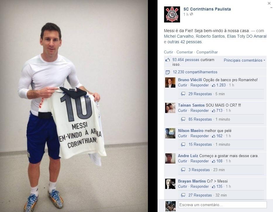 Apósde treino da Argentina no Itaquerão, Lionel Messi ganhou uma camisa do Corinthians: