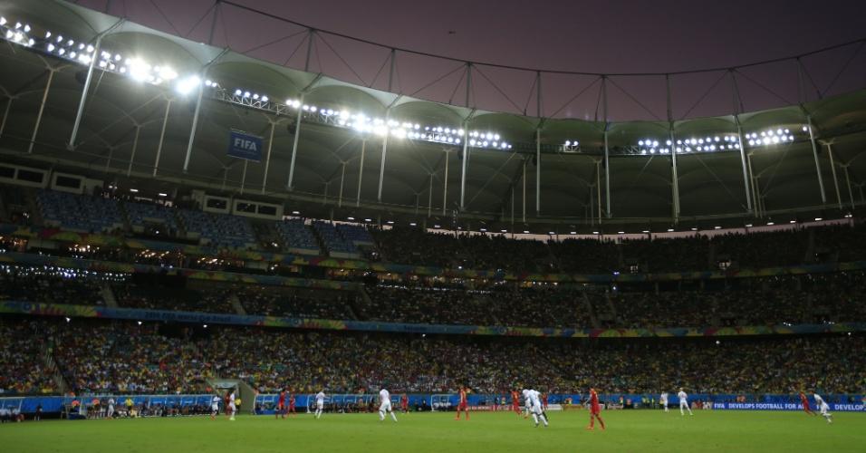 01.jul.2014 - Fonte Nova recebeu bom público para a partida entre Bélgica e Estados Unidos, válida pelas oitavas de final da Copa do Mundo