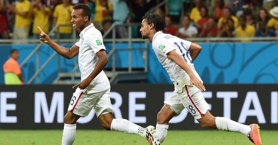 01.jul.2014 - Julian Green marcou para os Estados Unidos no segundo tempo da prorrogação contra a Bélgica