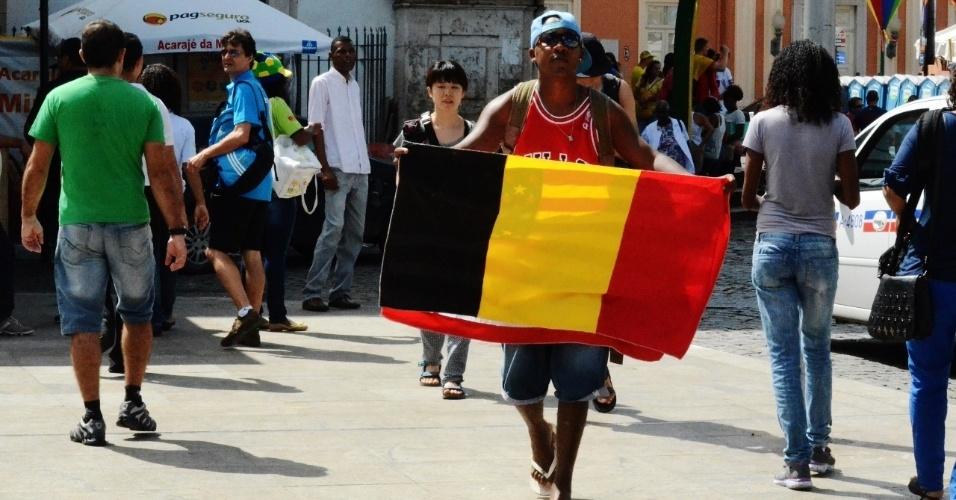 01.jul.2014 - Movimentação no Pelourinho antes de partida entre Bélgica x EUA, na Fonte Nova