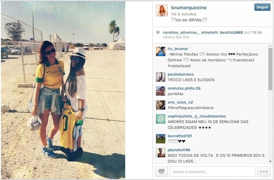Bruna Marquezine mostra otimismo antes do duelo entre Brasil e Colômbia: