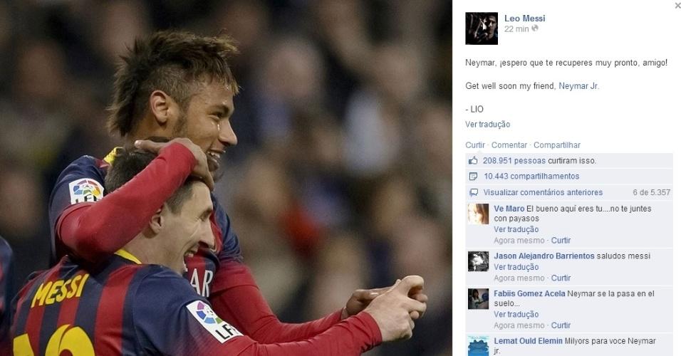 Messi manda mensagem para Neymar: