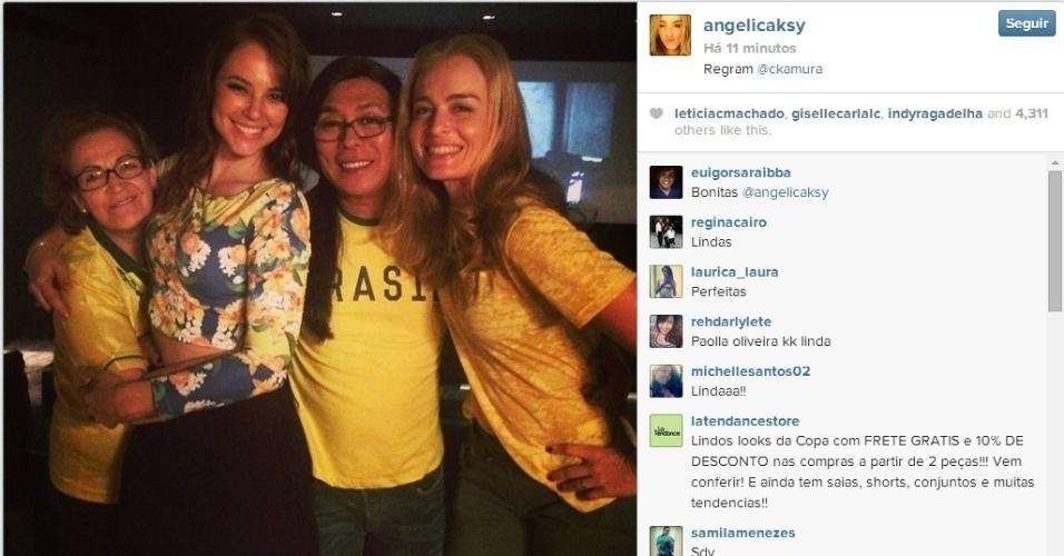 Paola Oliveira, Celso Kamura e Angélica assistem ao jogo do Brasil contra a Colômbia juntos