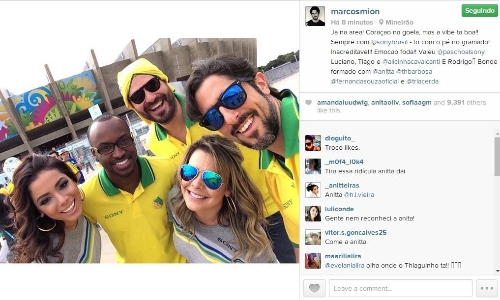 Anitta, Thiaguinho, Fernanda Souza, Thiago Lacerda e Marcos Mion comparem ao Mineirão para ver ao jogo Brasil x Alemanha
