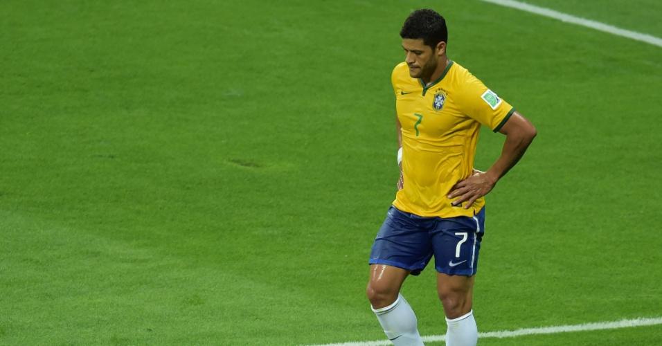 08. jul. 2014 - Hulk coloca as mãos na cintura e lamenta a derrota para a Alemanha por 7 a 1, no Mineirão