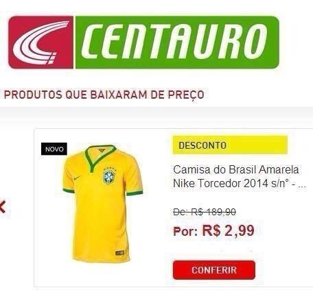 Internautas brincam com 'novo preço' de camisa do Brasil