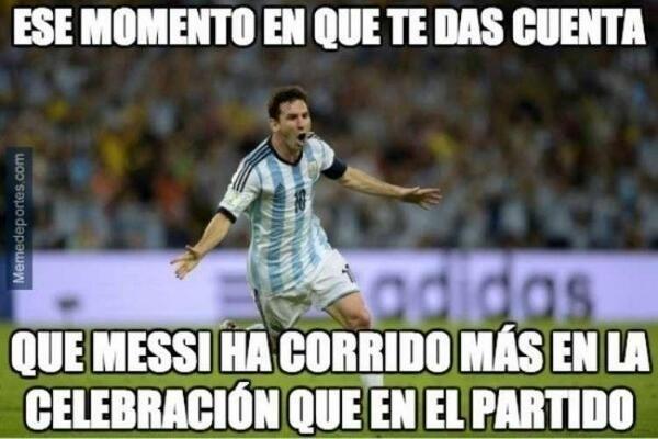 Aquele momento em que você percebe que o Messi correu mais na comemoração que no jogo