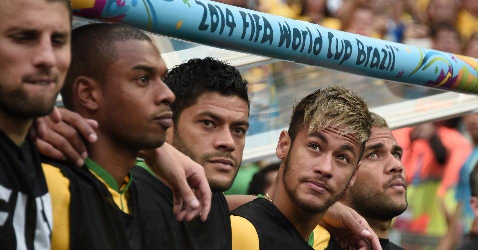 12.jul.2014 - Do banco de reservas, Neymar aguarda a execução do hino nacional no Mané Garrincha