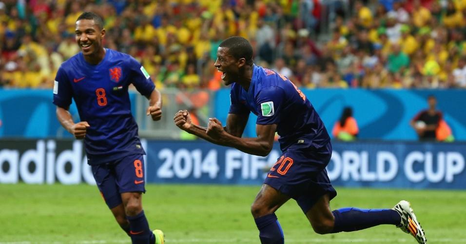 12.jul.2014 - Holandês Wijnaldum comemora após marcar o gol que fechou a vitória por 3 a 0 sobre o Brasil, no Mané Garrincha