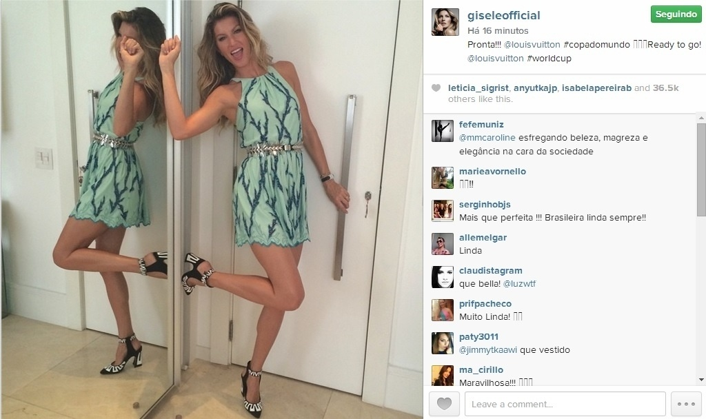 Gisele Bündchen revela roupa que irá usar na cerimônia de encerramento da Copa